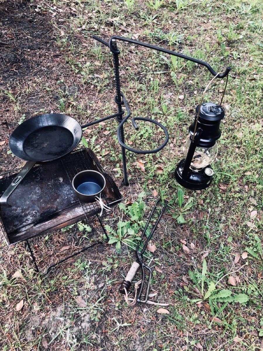 横かけ焚き火ハンガー/焚き火テーブルダブル