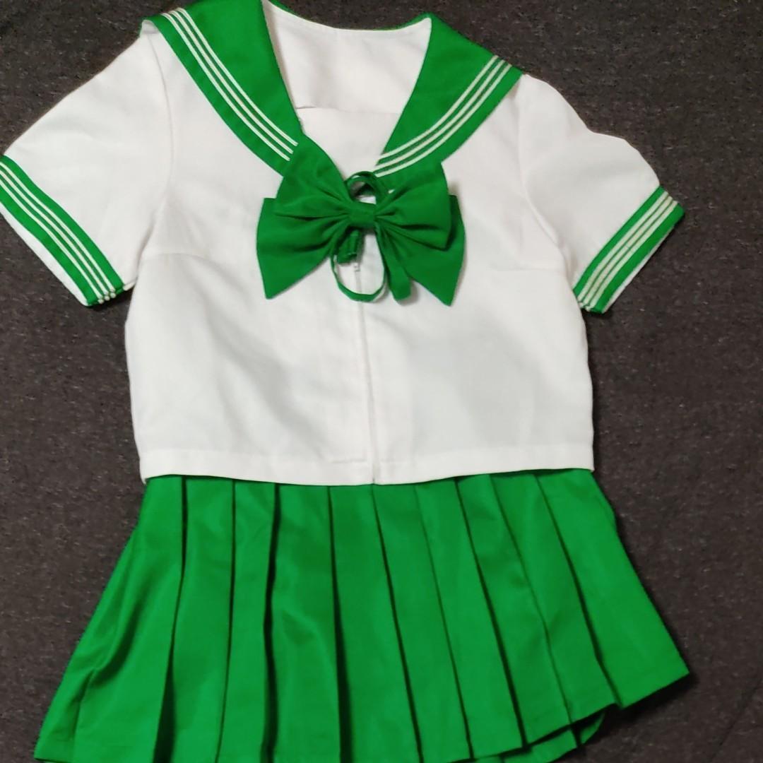 コスプレ衣装 上下セット セーラー服 コスプレ 夏服 女子高生 緑 グリーン