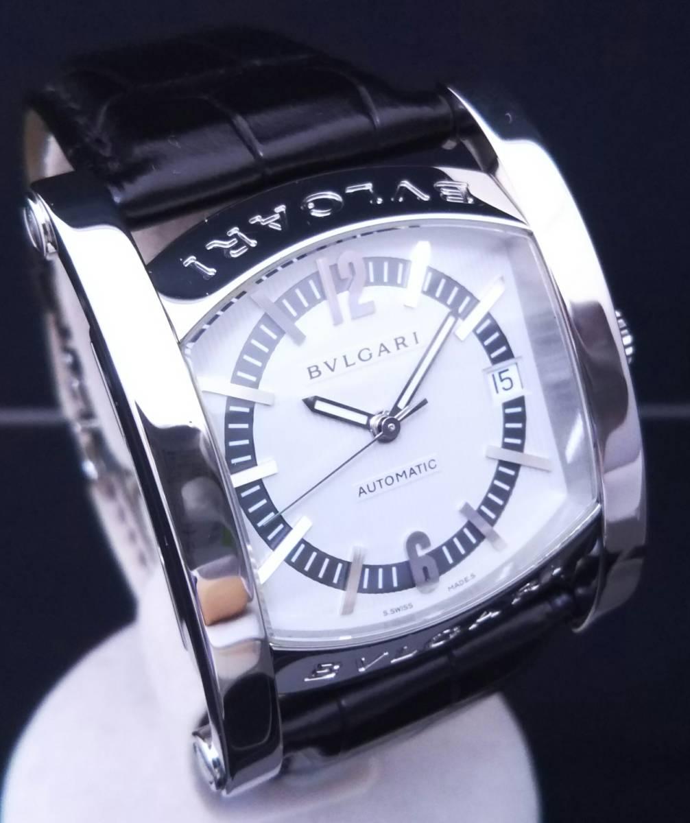 【OH・研磨済!】BVLGARI ブルガリ ASSIOMA アショーマ AA44S メンズ腕時計 デイト SS×黒革 白文字盤 自動巻 店舗受取可_画像3
