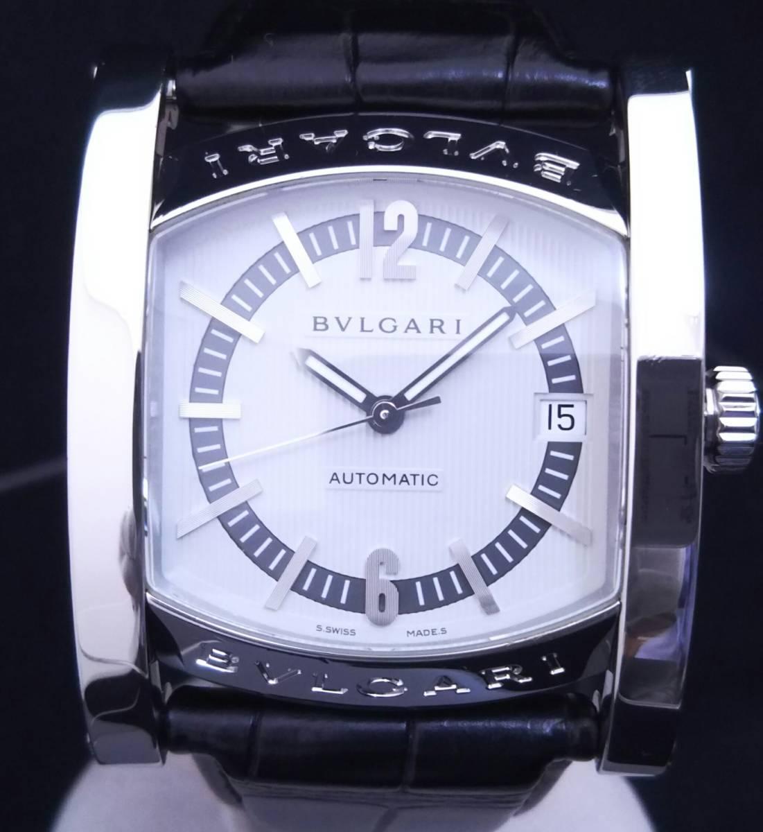 【OH・研磨済!】BVLGARI ブルガリ ASSIOMA アショーマ AA44S メンズ腕時計 デイト SS×黒革 白文字盤 自動巻 店舗受取可_画像1