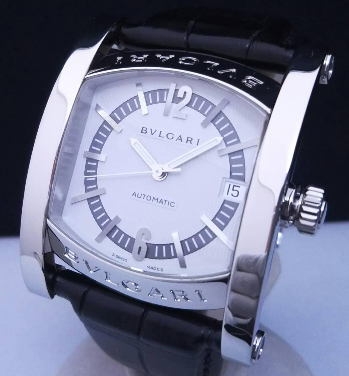 【OH・研磨済!】BVLGARI ブルガリ ASSIOMA アショーマ AA44S メンズ腕時計 デイト SS×黒革 白文字盤 自動巻 店舗受取可_画像2
