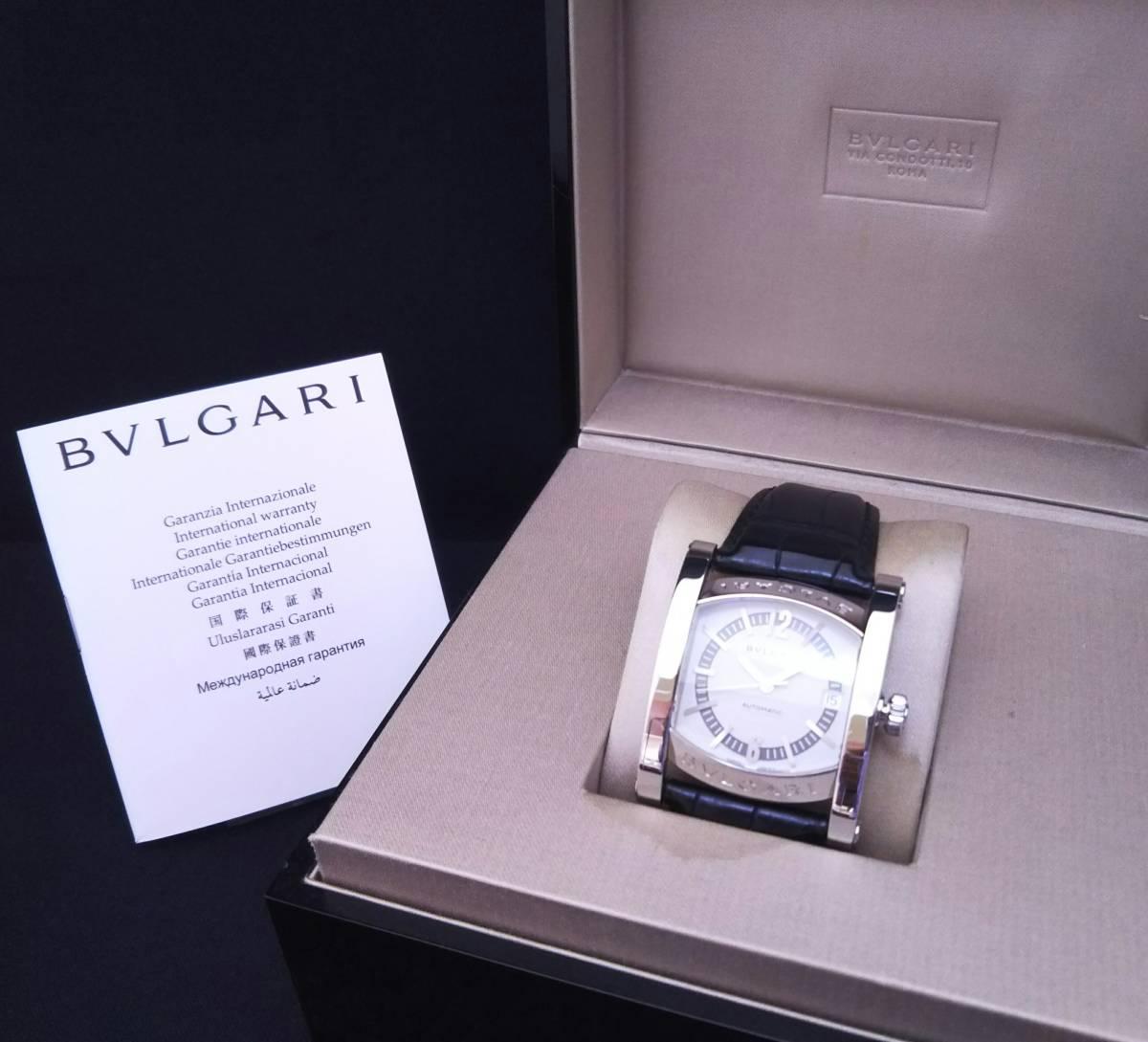 【OH・研磨済!】BVLGARI ブルガリ ASSIOMA アショーマ AA44S メンズ腕時計 デイト SS×黒革 白文字盤 自動巻 店舗受取可_画像8