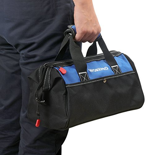 WORKPRO ツールバッグ 工具差し入れ 道具袋 工具バッグ 大口収納 600Dオックスフォード ワイドオープン 幅33cm_画像6