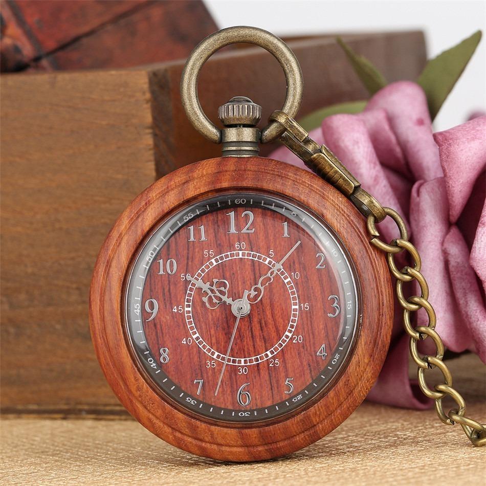 【新品・限定】フルウッドケースアンティークブロンズ懐中時計 クォーツムーブメント ペンダント_画像4