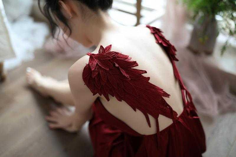 刺繍天使翼セクシーランジェリー/ベビードール/部屋着/ルームウェアA1288紅_画像4