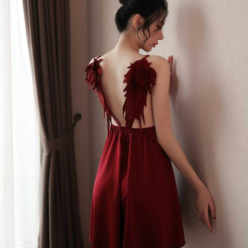 刺繍天使翼セクシーランジェリー/ベビードール/部屋着/ルームウェアA1288紅_画像8