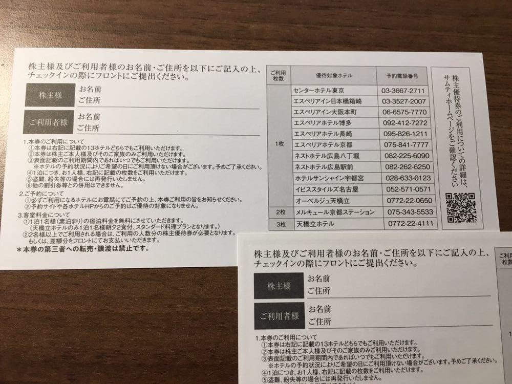 【最新】サムティ 株主優待無料宿泊券 3枚 2022年2月末日まで有効①_画像2