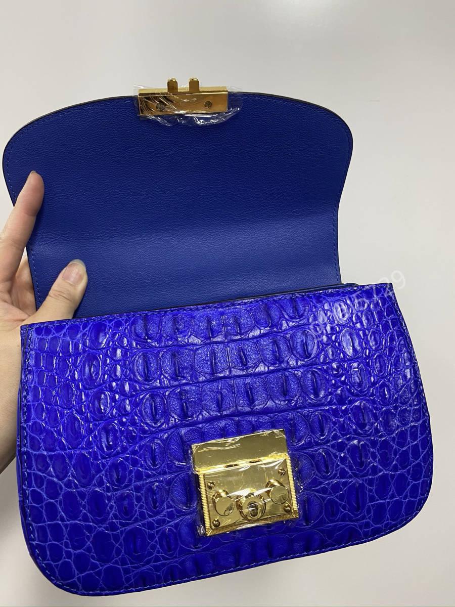 美品 クロコダイル ワニ革 ハンドバッグ トートバッグ かばん レディース鞄 ゴールド金具 手提げ バッグ ショルダーバッグ 可愛い 青色_画像8