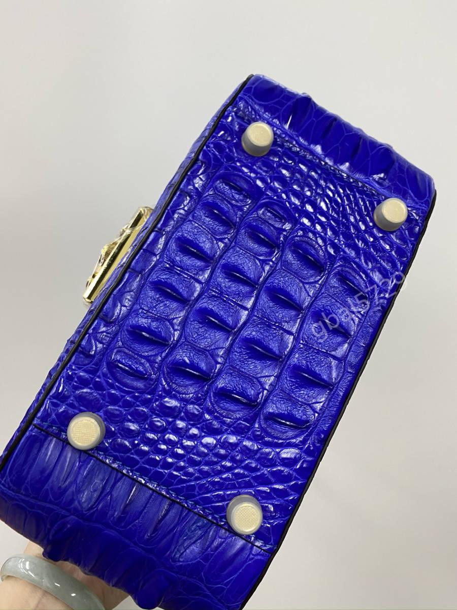 美品 クロコダイル ワニ革 ハンドバッグ トートバッグ かばん レディース鞄 ゴールド金具 手提げ バッグ ショルダーバッグ 可愛い 青色_画像5
