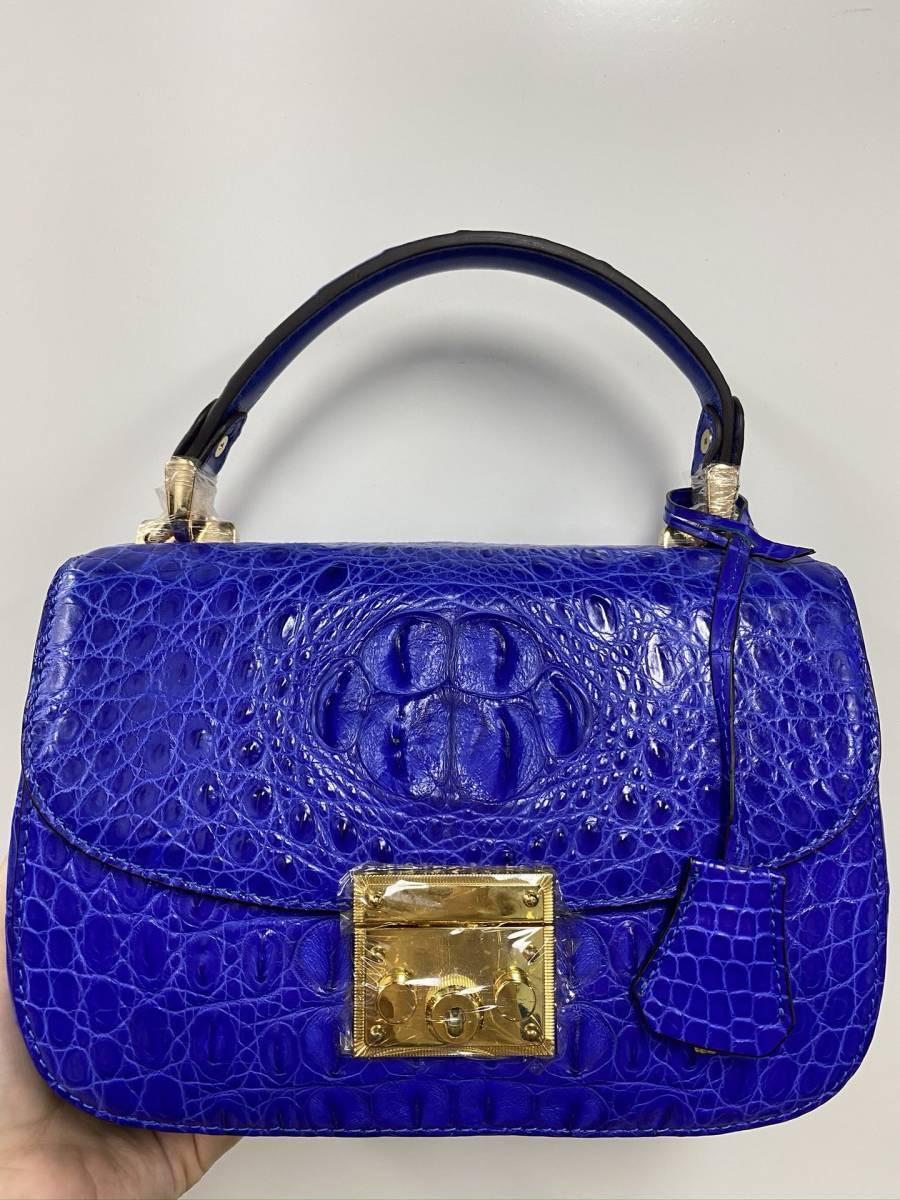 美品 クロコダイル ワニ革 ハンドバッグ トートバッグ かばん レディース鞄 ゴールド金具 手提げ バッグ ショルダーバッグ 可愛い 青色_画像2