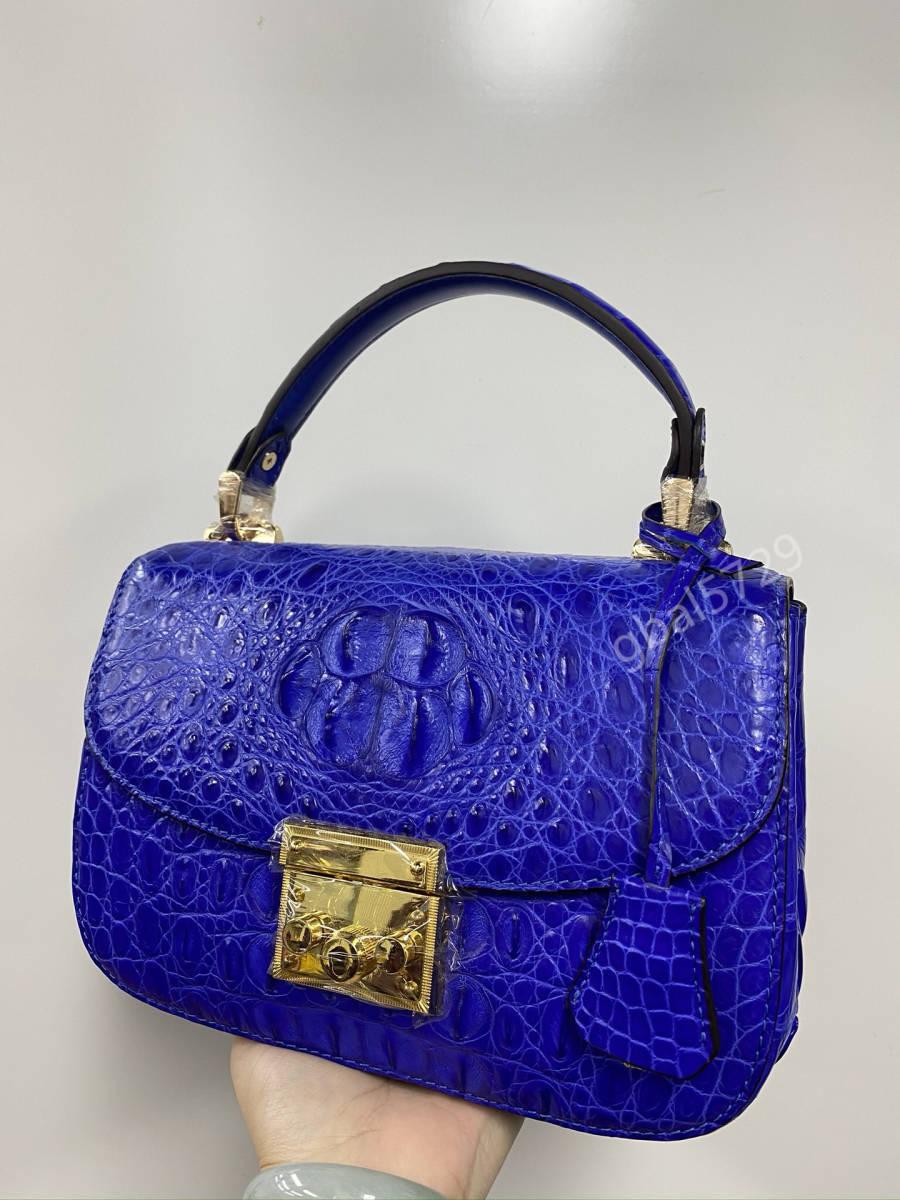美品 クロコダイル ワニ革 ハンドバッグ トートバッグ かばん レディース鞄 ゴールド金具 手提げ バッグ ショルダーバッグ 可愛い 青色_画像3