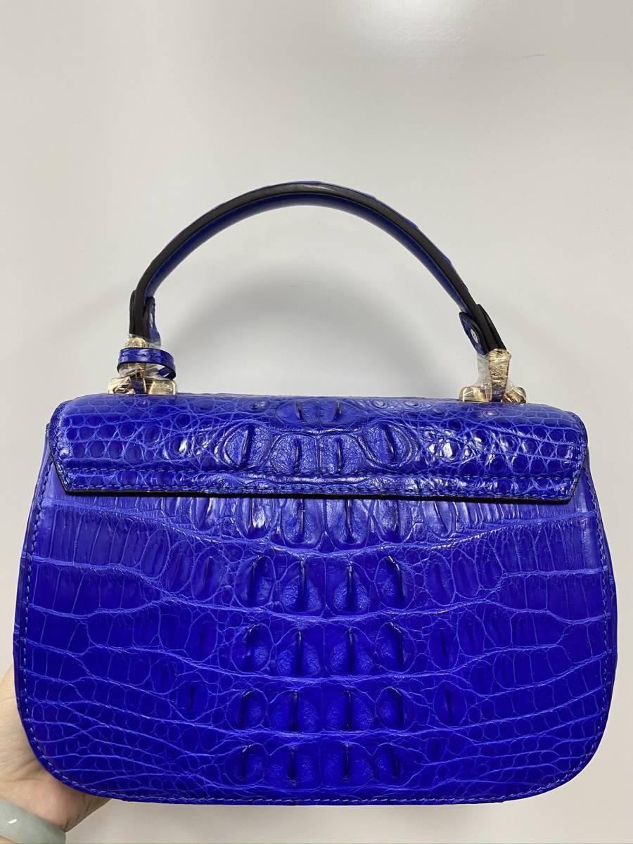 美品 クロコダイル ワニ革 ハンドバッグ トートバッグ かばん レディース鞄 ゴールド金具 手提げ バッグ ショルダーバッグ 可愛い 青色_画像4