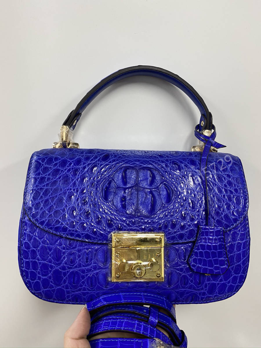 美品 クロコダイル ワニ革 ハンドバッグ トートバッグ かばん レディース鞄 ゴールド金具 手提げ バッグ ショルダーバッグ 可愛い 青色_画像1