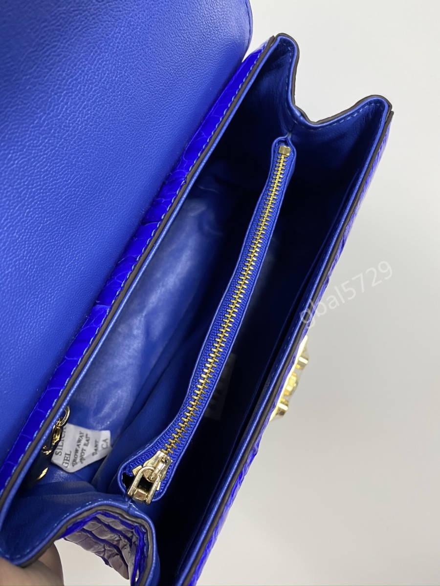 美品 クロコダイル ワニ革 ハンドバッグ トートバッグ かばん レディース鞄 ゴールド金具 手提げ バッグ ショルダーバッグ 可愛い 青色_画像9