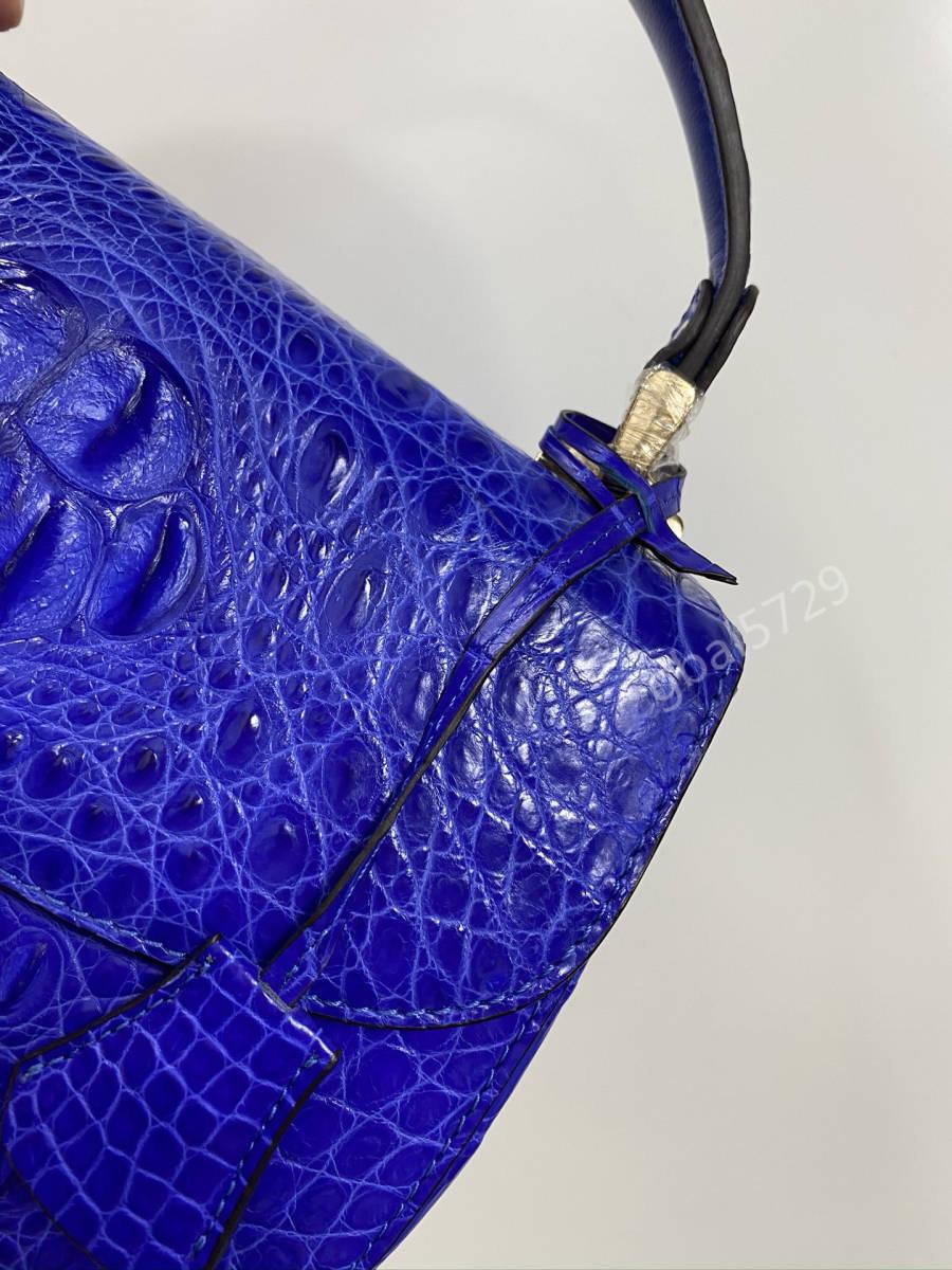 美品 クロコダイル ワニ革 ハンドバッグ トートバッグ かばん レディース鞄 ゴールド金具 手提げ バッグ ショルダーバッグ 可愛い 青色_画像6
