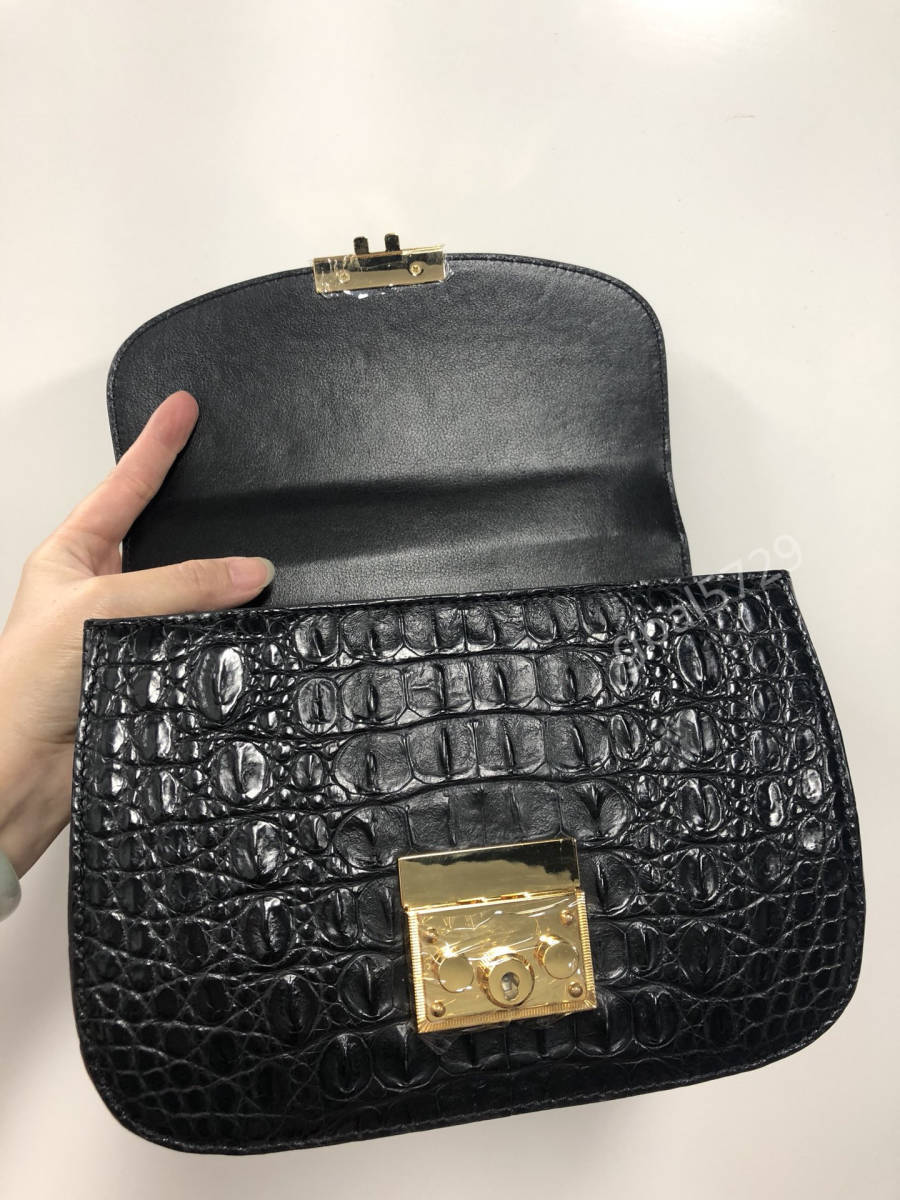美品 クロコダイル ワニ革 ハンドバッグ トートバッグ かばん レディース鞄 ゴールド金具 手提げ バッグ ショルダーバッグ 黒_画像6