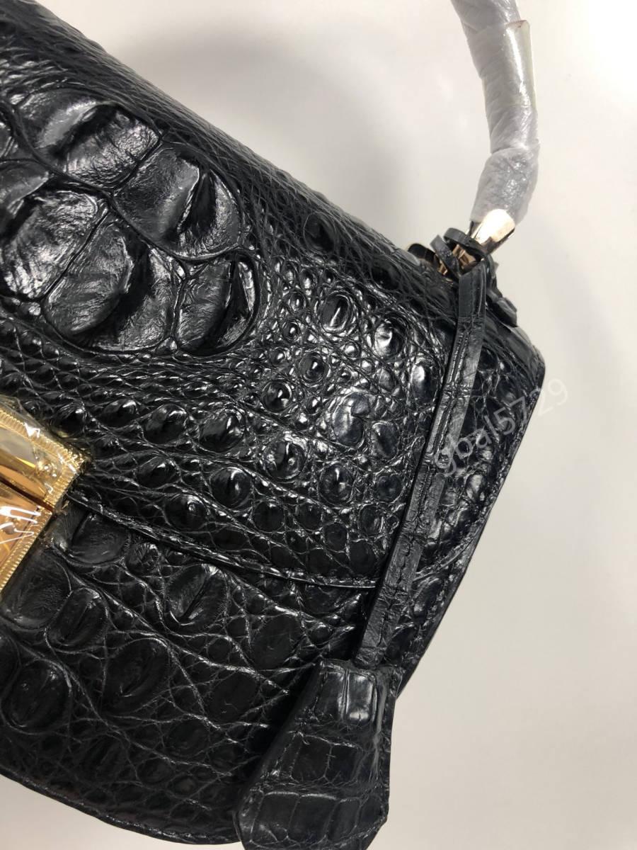 美品 クロコダイル ワニ革 ハンドバッグ トートバッグ かばん レディース鞄 ゴールド金具 手提げ バッグ ショルダーバッグ 黒_画像8