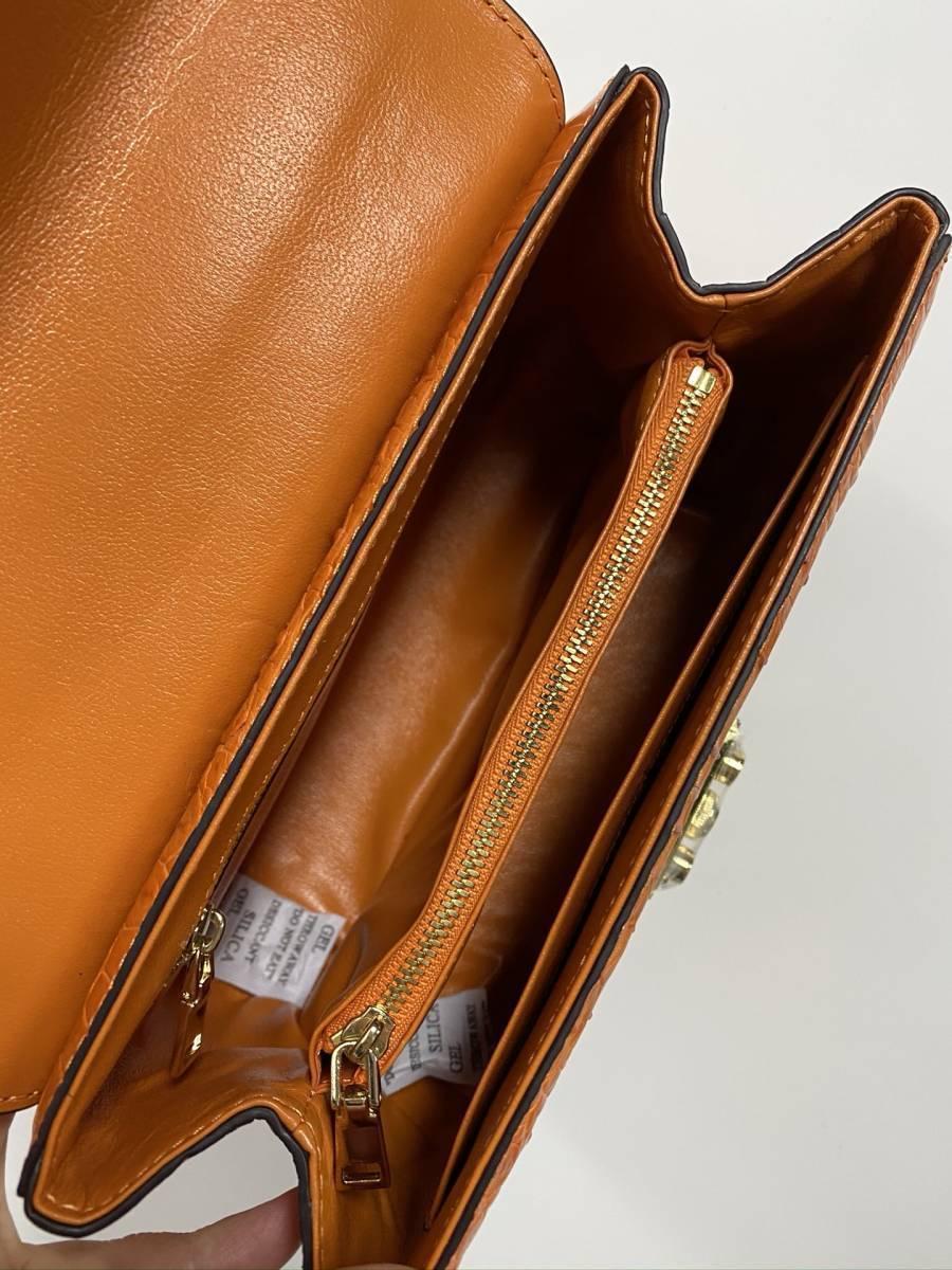 シャムクロコダイル◆ワニ革 ハンドバッグ ◆ かばん レディース鞄 ゴールド金具 手提げ バッグ ショルダーバッグ◆オレンジ_画像9