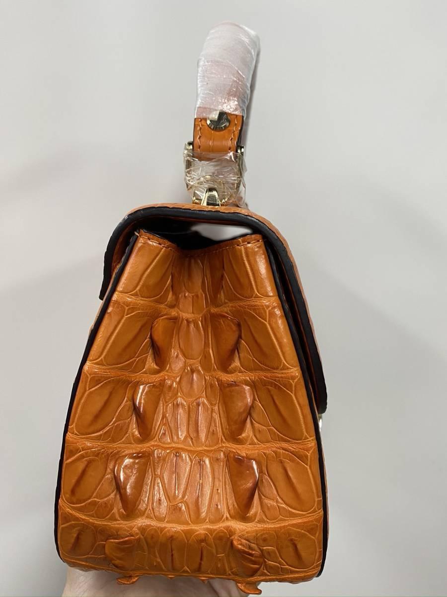 シャムクロコダイル◆ワニ革 ハンドバッグ ◆ かばん レディース鞄 ゴールド金具 手提げ バッグ ショルダーバッグ◆オレンジ_画像6