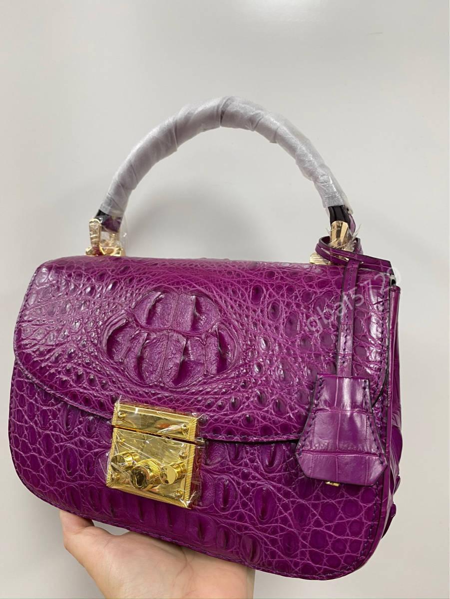 美品 クロコダイル ワニ革 ハンドバッグ トートバッグ かばん レディース鞄 ゴールド金具 手提げ バッグ ショルダーバッグ 可愛い_画像4