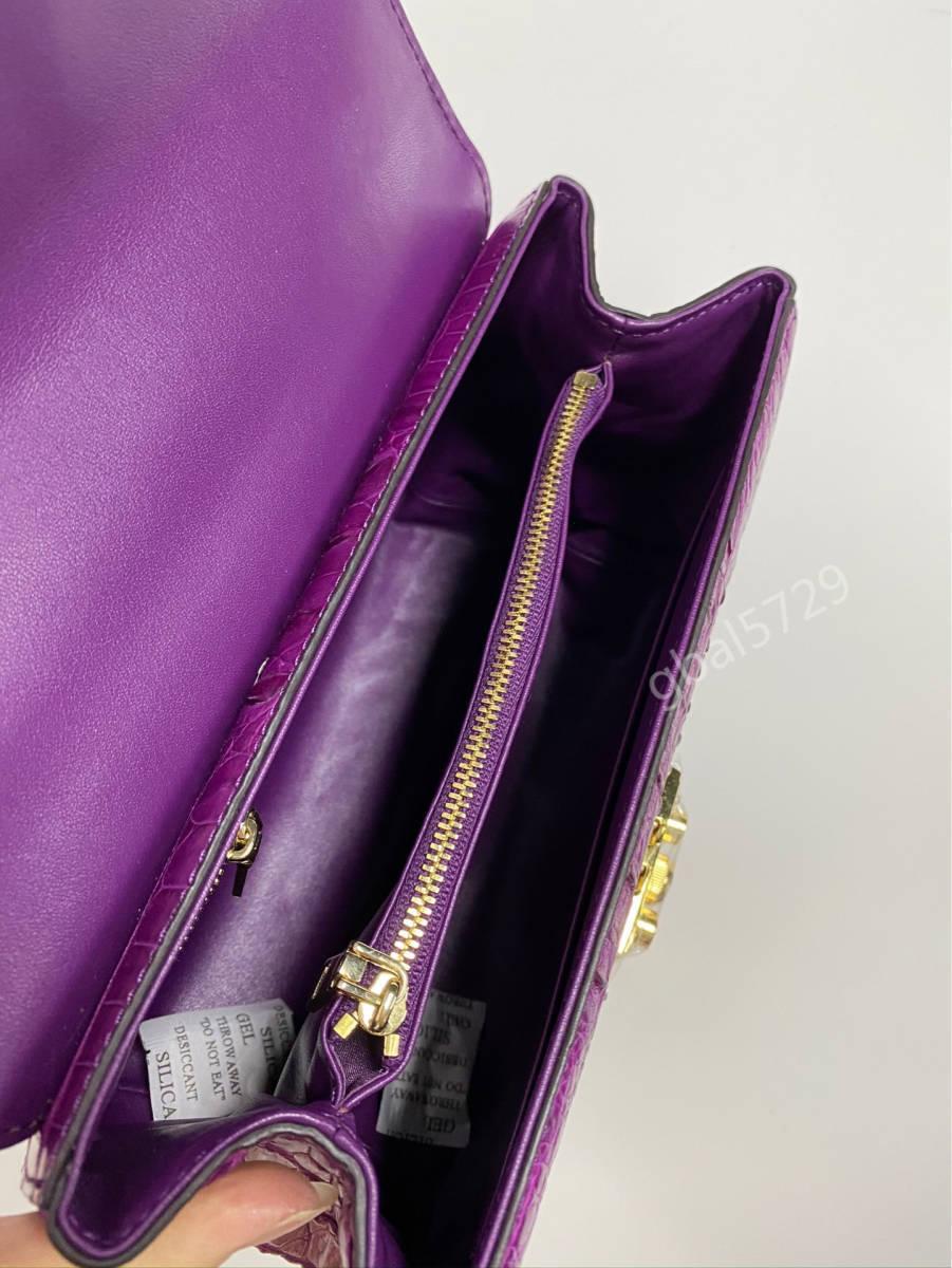 美品 クロコダイル ワニ革 ハンドバッグ トートバッグ かばん レディース鞄 ゴールド金具 手提げ バッグ ショルダーバッグ 可愛い_画像9