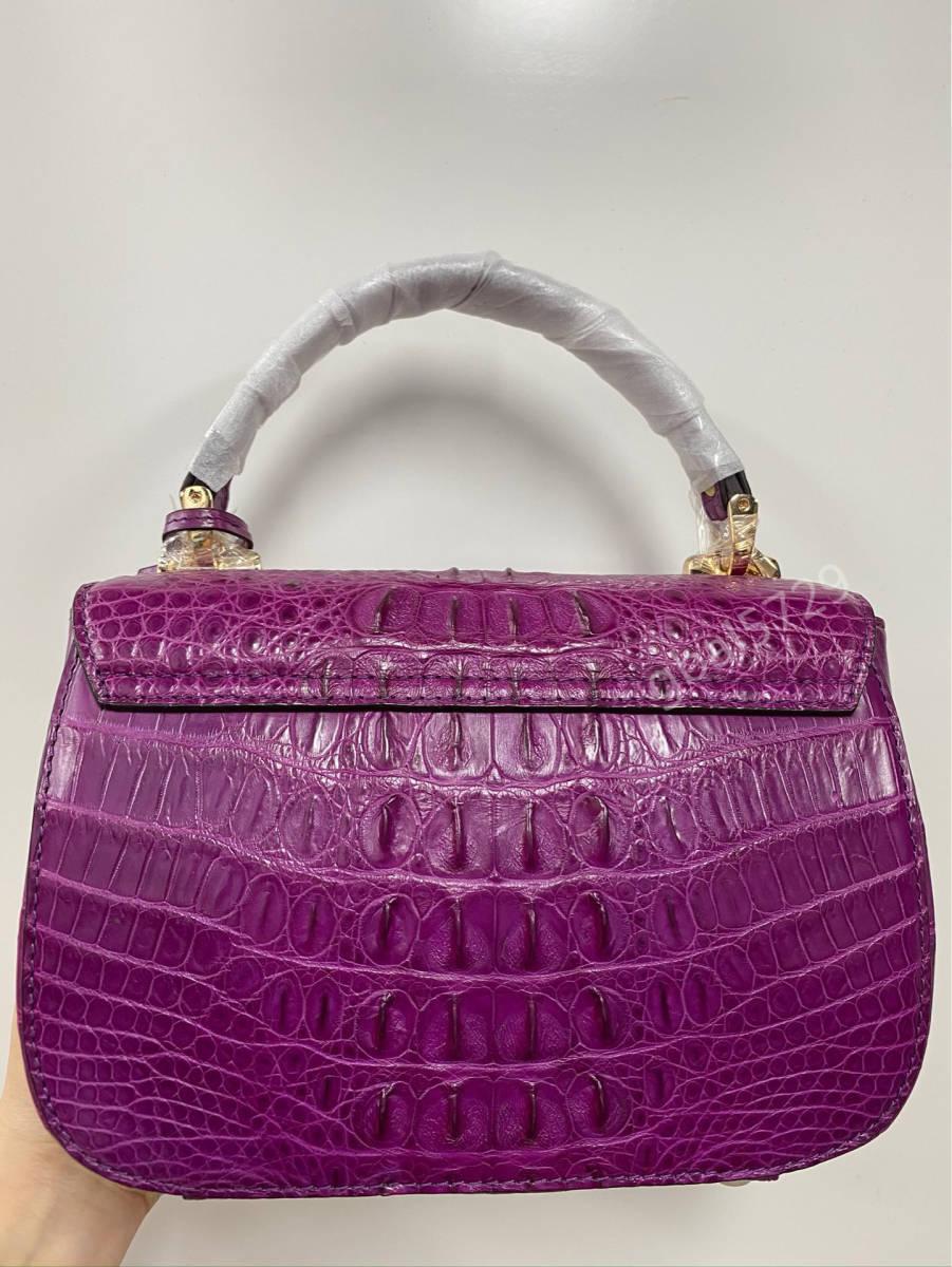 美品 クロコダイル ワニ革 ハンドバッグ トートバッグ かばん レディース鞄 ゴールド金具 手提げ バッグ ショルダーバッグ 可愛い_画像3