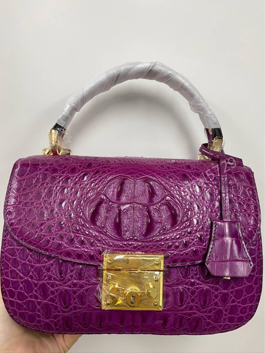 美品 クロコダイル ワニ革 ハンドバッグ トートバッグ かばん レディース鞄 ゴールド金具 手提げ バッグ ショルダーバッグ 可愛い_画像2