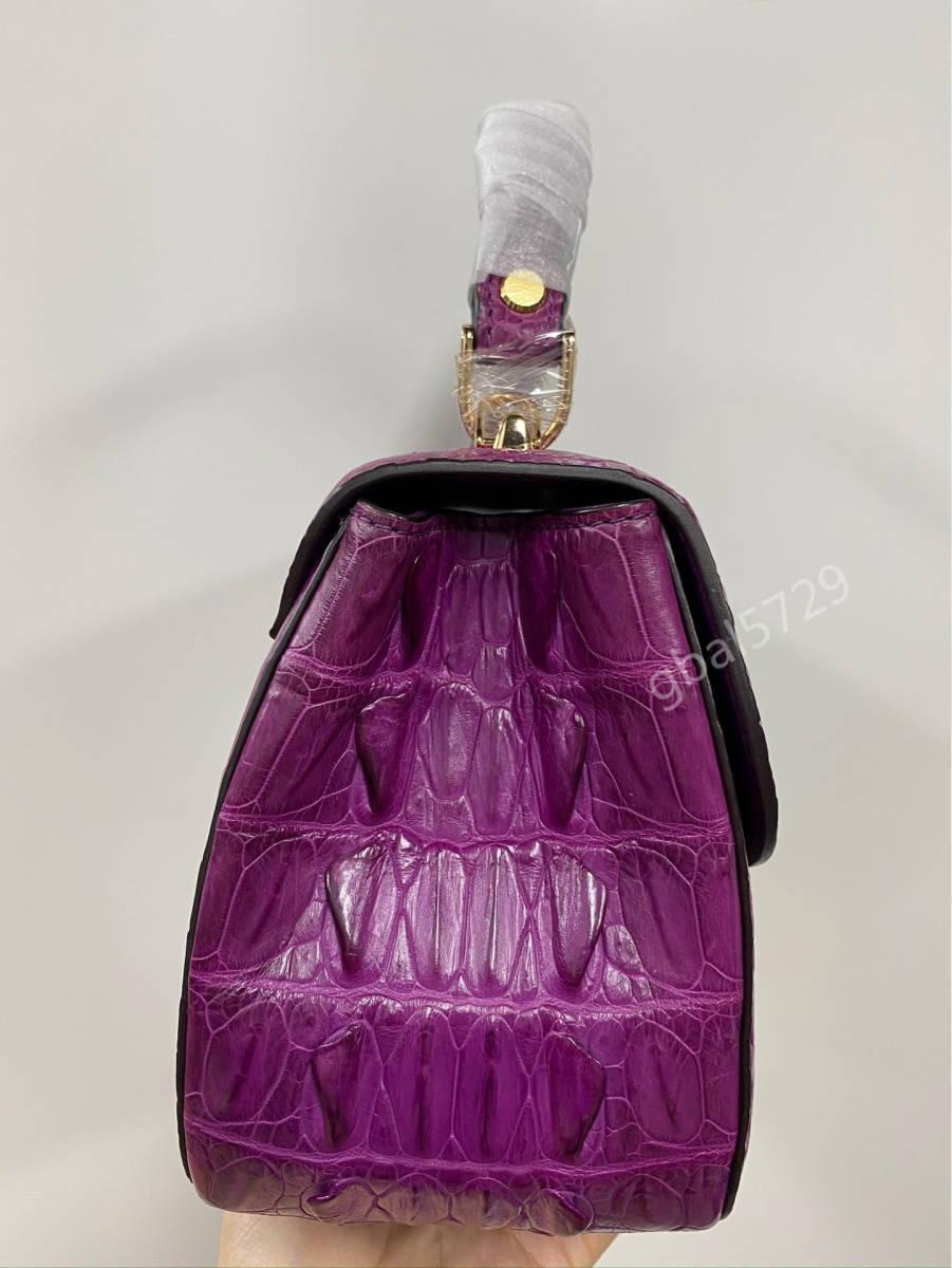 美品 クロコダイル ワニ革 ハンドバッグ トートバッグ かばん レディース鞄 ゴールド金具 手提げ バッグ ショルダーバッグ 可愛い_画像7