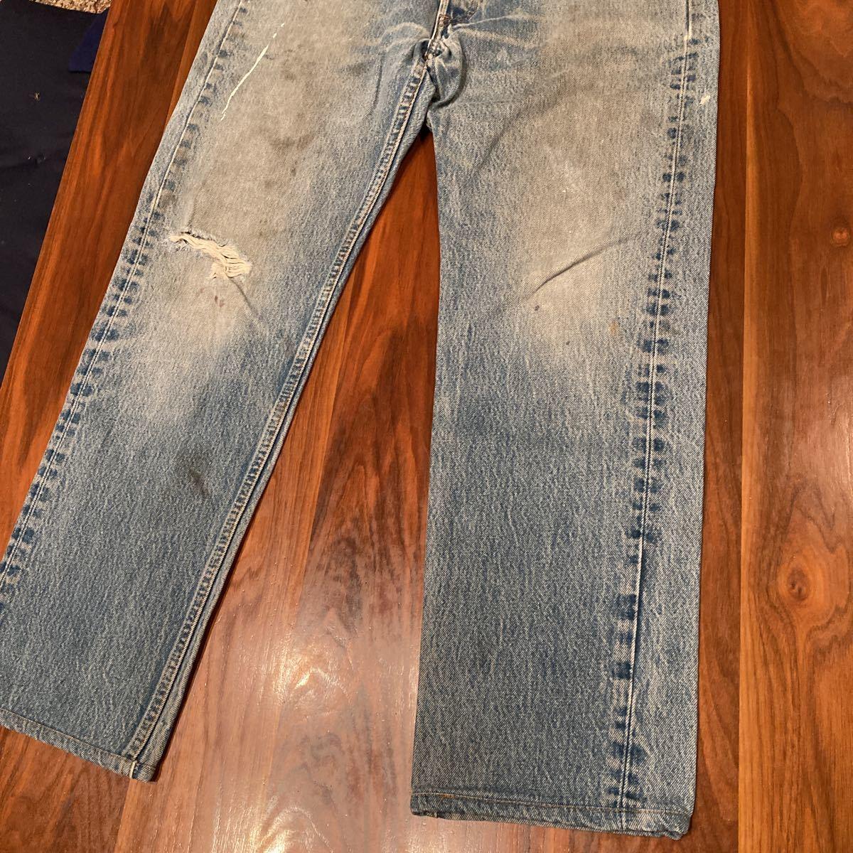 98年 米国製 Levi's リーバイス 501 w35 レギュラー 実寸 w86cm ヒゲ落ち クラッシュ デニム ジーンズ_画像7