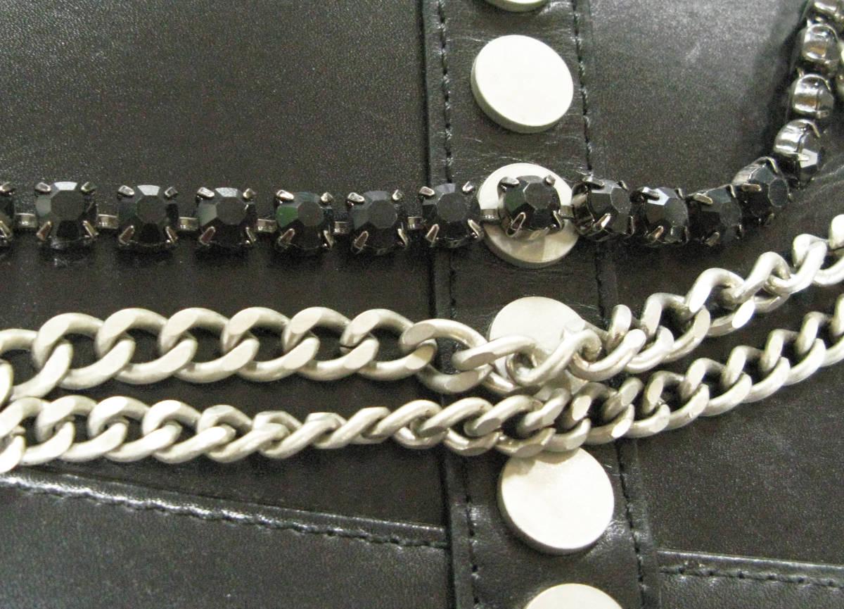 ヨウジヤマモト Yohji:青山店限定 チェーン付き スタッズ バッグ ( レア Yohji Yamamoto Aoyama Limited Studs Chain Leather Bag _画像4