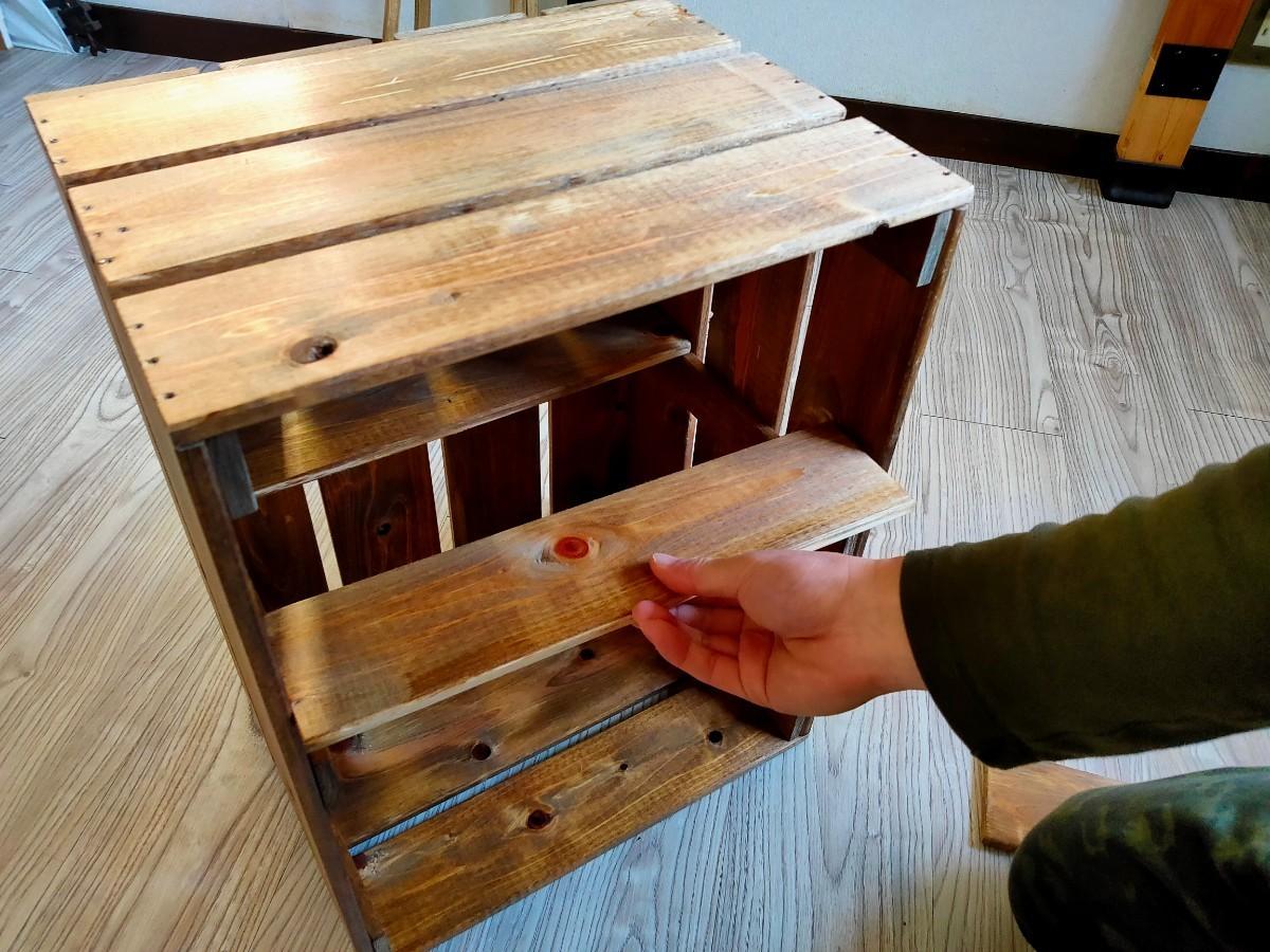 キャンプギア収納箱&収納棚。荷物運び~収納棚までこなす箱です。桧板×ワトコオイル仕上げ。
