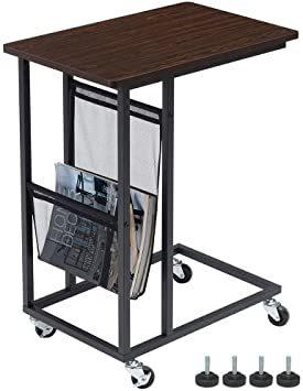 ブラウン EKNITEY サイドテーブル ソファ ナイトテーブル コ字型 キャスター付き 可移動デスク ノートパソコンスタンド _画像1