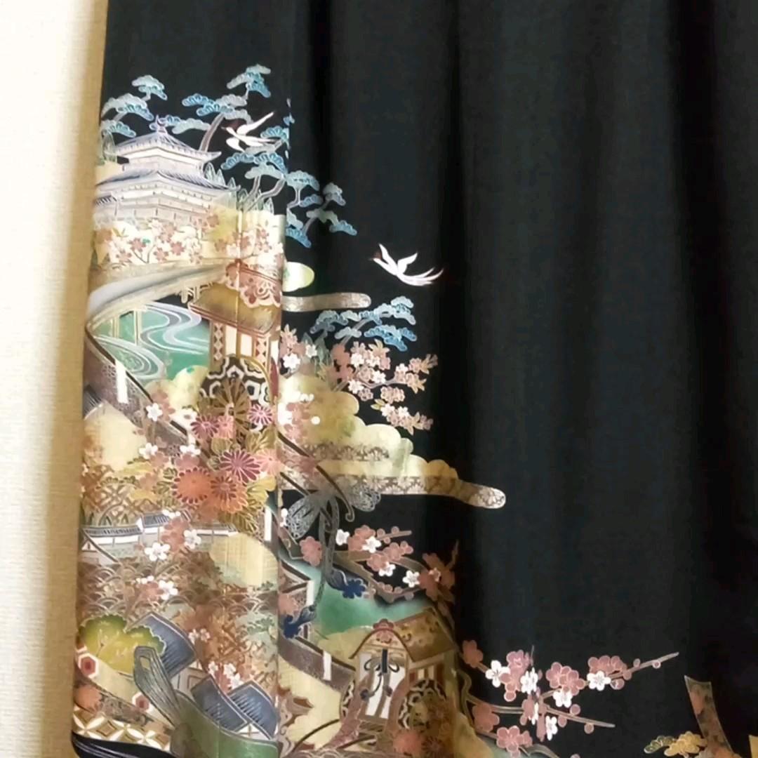 着物リメイク 5つ紋 ロングワンピース ブラックフォーマル 美品