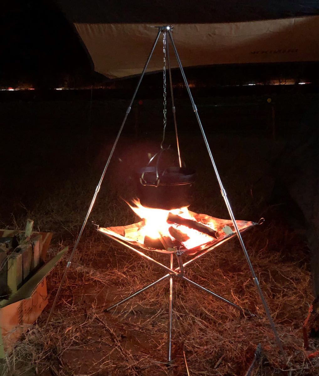 激安 焚き火台 トライポットセット 焚火台 バーベキューコンロ 折りたたみ 収納バッグ