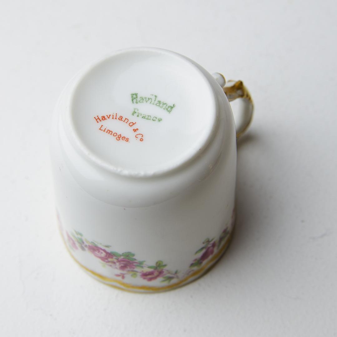 Haviland & Co アビランド リモージュ  アンティーク デミタスカップソーサー フランス ビンテージ コーヒーカップ ティーカップ_画像3
