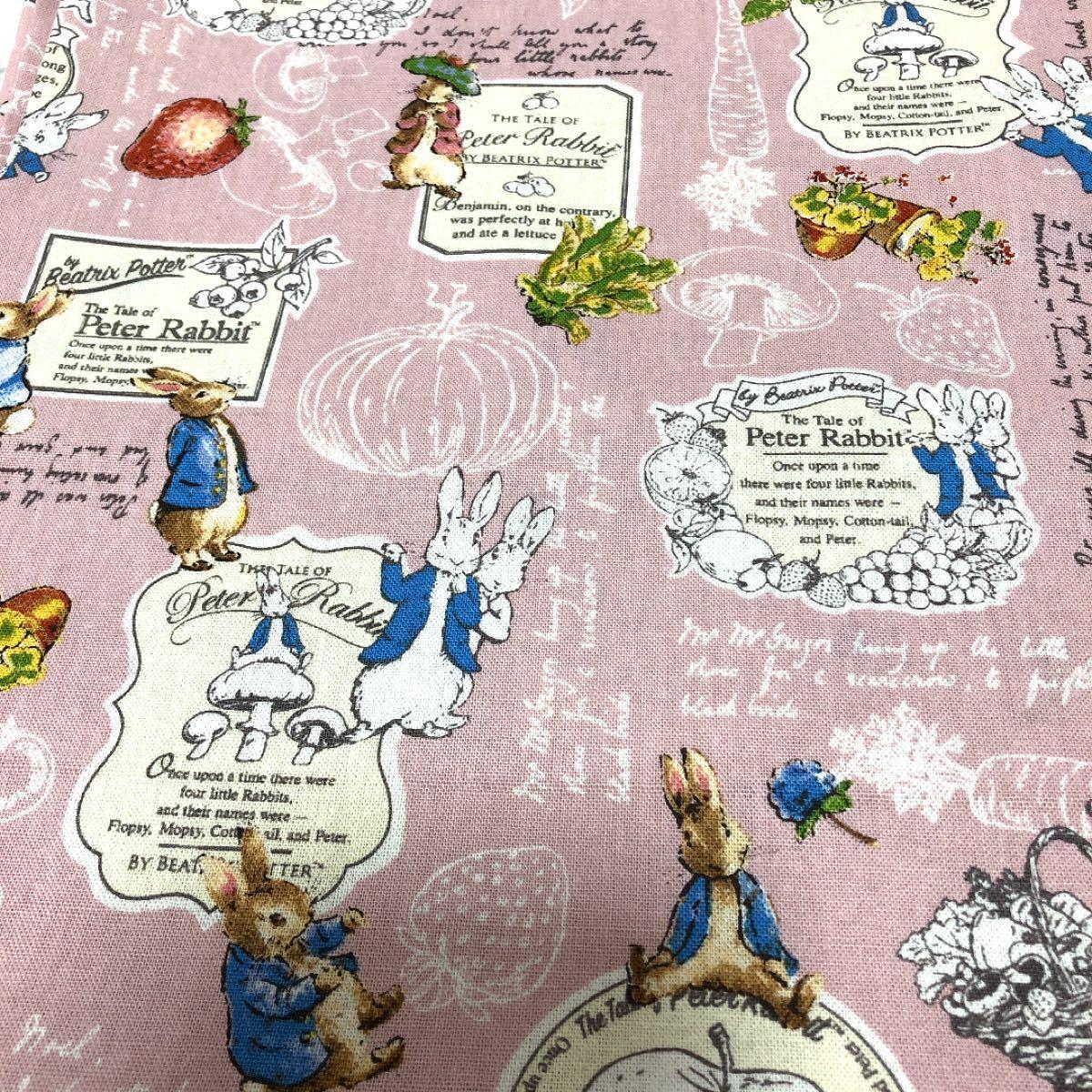 ハギレ  ピーターラビット (フルーツベジ) ペールピンク 綿麻キャンバス 生地 110 × 50cm  カットクロス うさぎ