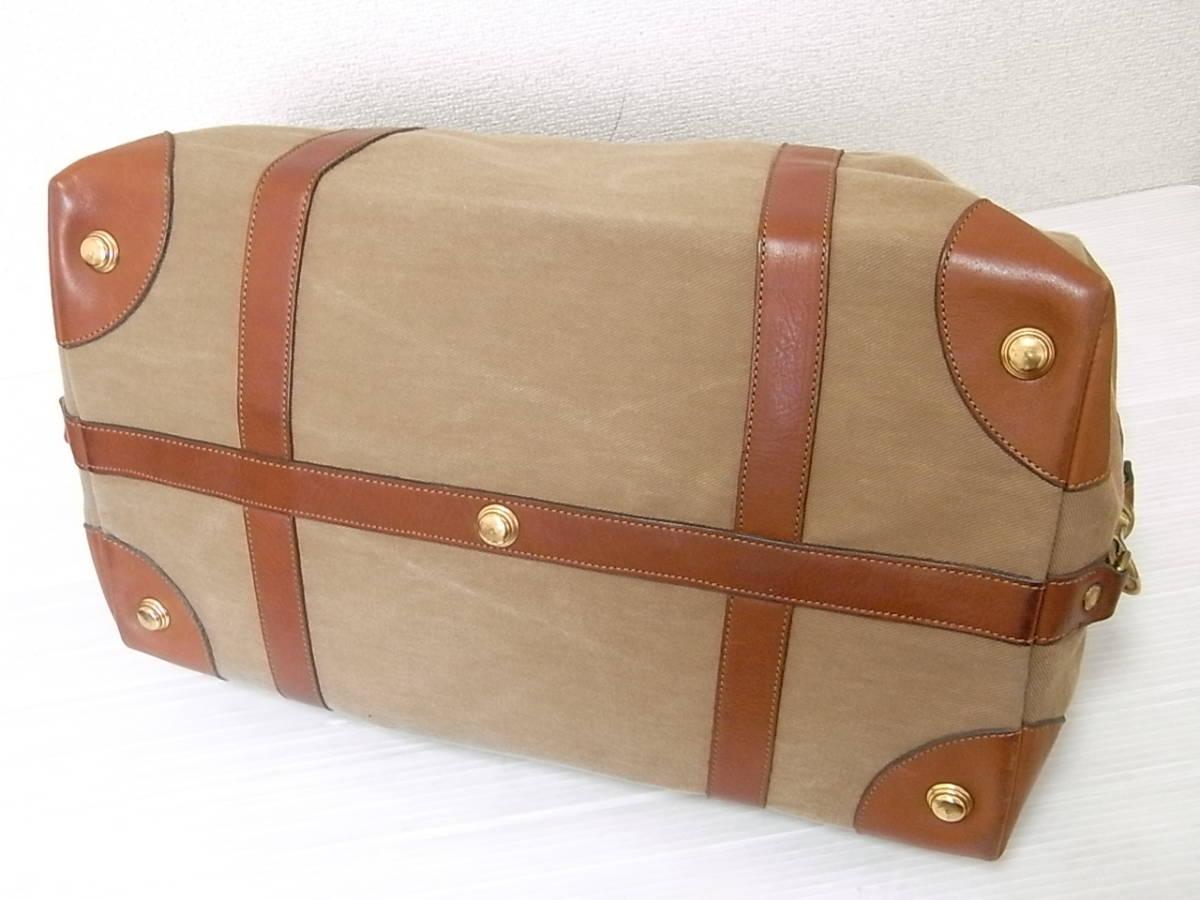 Ghurka グルカ 本革使い キャンバス レザー ボストンバッグ ハンドバッグ MH CAVALIER キャバリアー 旅行鞄 旅行かばん ロゴ入り_画像2