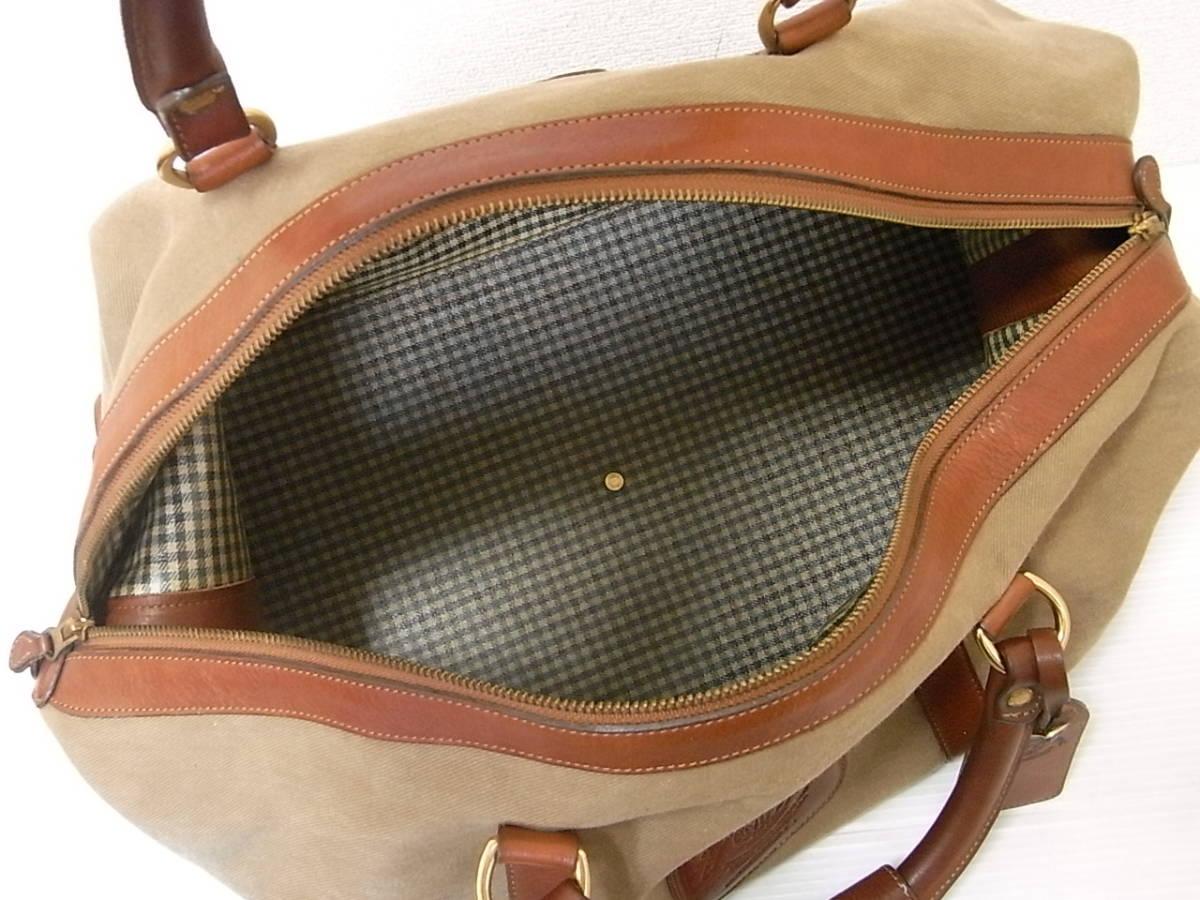 Ghurka グルカ 本革使い キャンバス レザー ボストンバッグ ハンドバッグ MH CAVALIER キャバリアー 旅行鞄 旅行かばん ロゴ入り_画像4