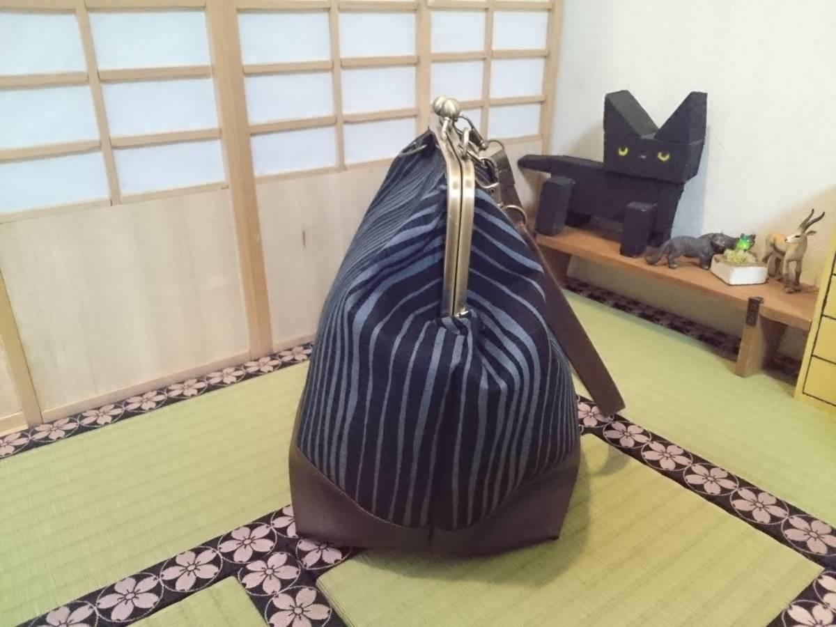 和柄 縦縞 紺 ネイビー ハイカラ オシャレ 日本 がま口 3way ショルダー バッグ ハンドメイド 手提げ 斜めかけ 和装 着物 長財布 入ります