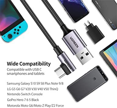 UGREEN USB Type C ケーブル L字ナイロン編み 3A急速充電 Quick Charge 3.0/2.0対応 56_画像5