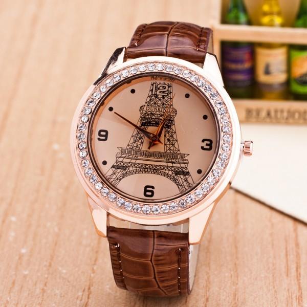 【カラー選択可能】女性の腕時計 ファッションダイヤモンド パリ エッフェル塔 ラインストーンの腕時計 レディースウォッチ クォーツ_画像1