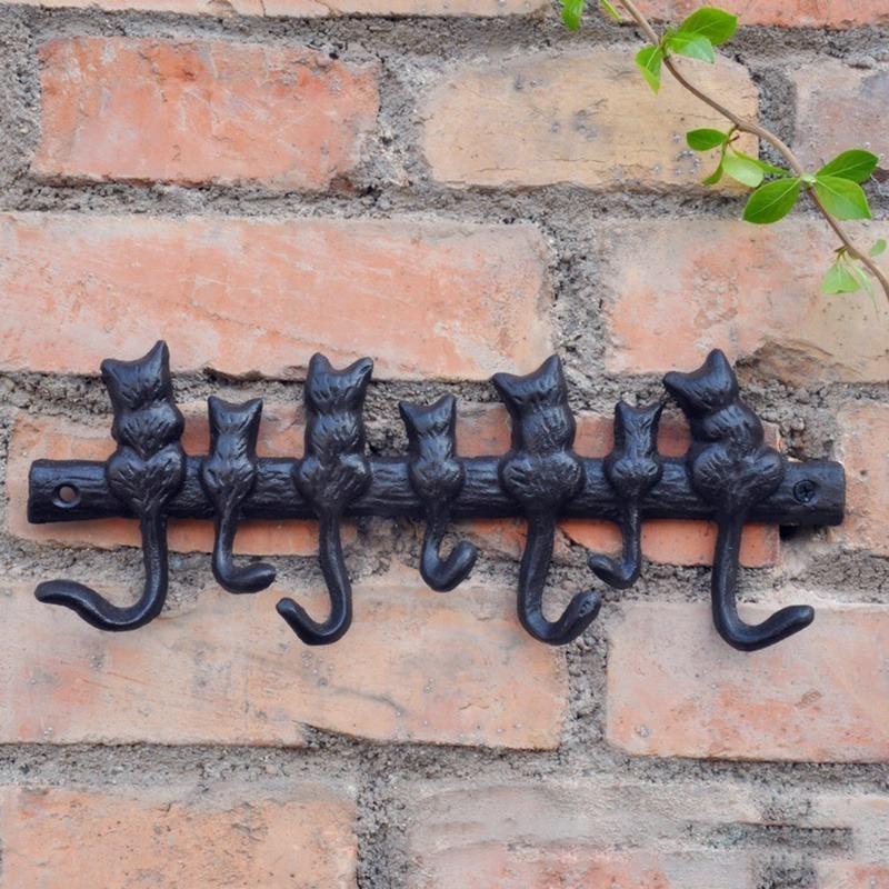 ★1円スタート★猫 壁掛けフック アイアンフック ヴィンテージ アンティーク ウォールハンガー ハンガー壁 AT12512_画像1
