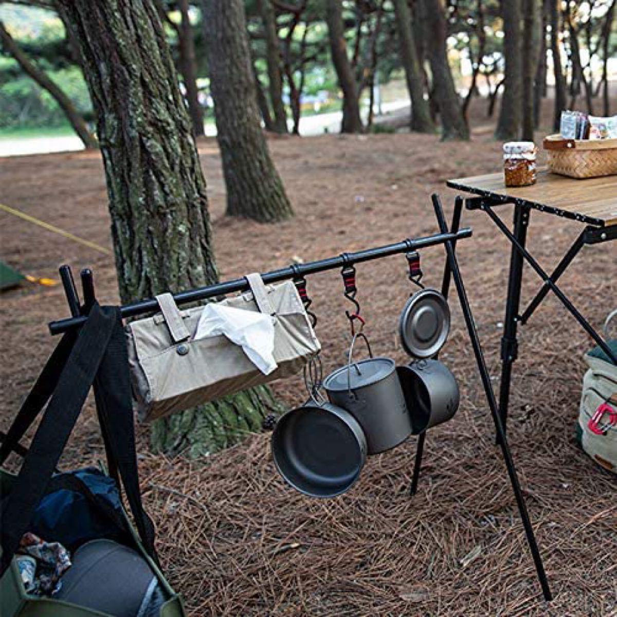 アウトドア ハンガーラックスタンド ランタンスタンド キャンプスタンド ハンギングラック ケース付 小物掛けスタンド Lサイズ