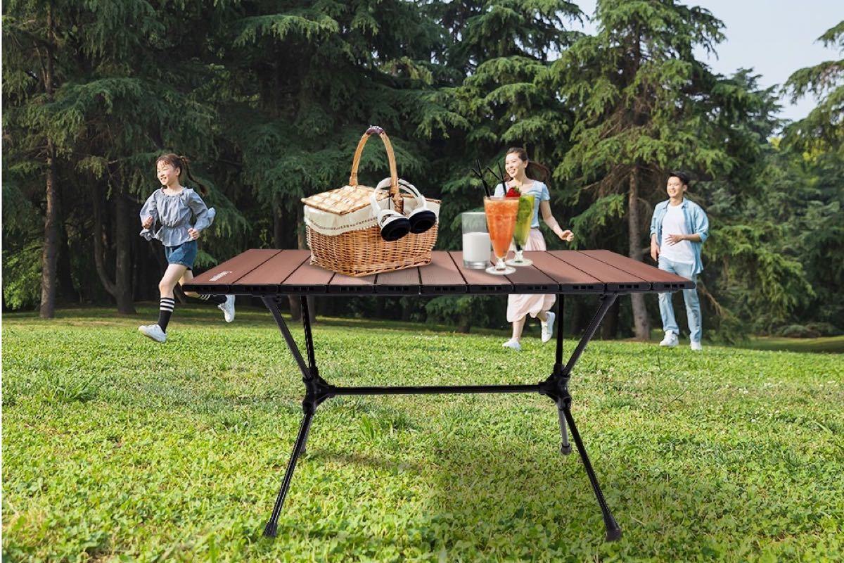 CAMPING MOON キャンピングムーン スリムロールテーブル ブラウン 折り畳み2WAYテーブル 高さ2段調整可 T520