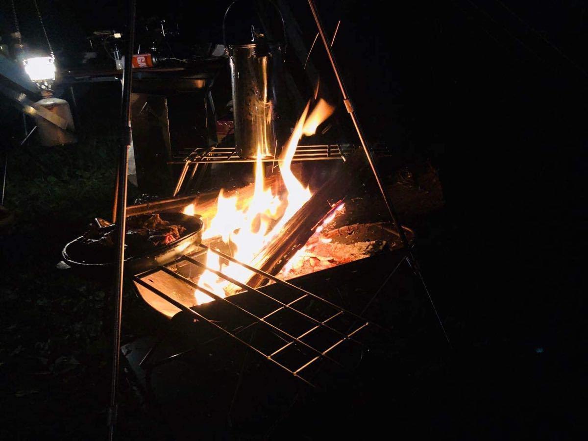 CAMPING MOON キャンピングムーン 焚き火ゴトク アイアンスタンド ストーブスタンド 収納ケース付 MTG-TSA