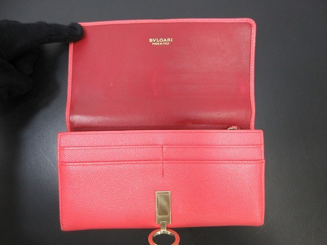 BVLGARI ブルガリ●二つ折り長財布 レザー ピンク ウォレット 箱付き(94745B_画像2