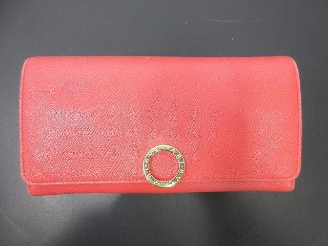 BVLGARI ブルガリ●二つ折り長財布 レザー ピンク ウォレット 箱付き(94745B_画像1