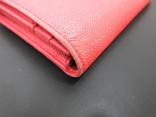 BVLGARI ブルガリ●二つ折り長財布 レザー ピンク ウォレット 箱付き(94745B_画像5
