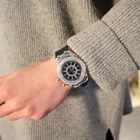 Y078 フラッシュ 夜光時計 ledライト トレンド 学生 愛好家 ゼリー 女性メンズ腕時計_画像2