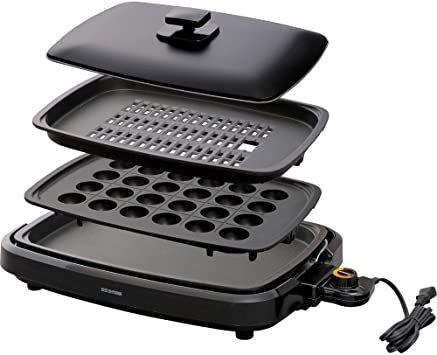 人気 アイリスオーヤマ ホットプレート たこ焼き 焼肉 平面 プレート 3枚 網焼き 蓋付き ブラック APA-137-B_画像1